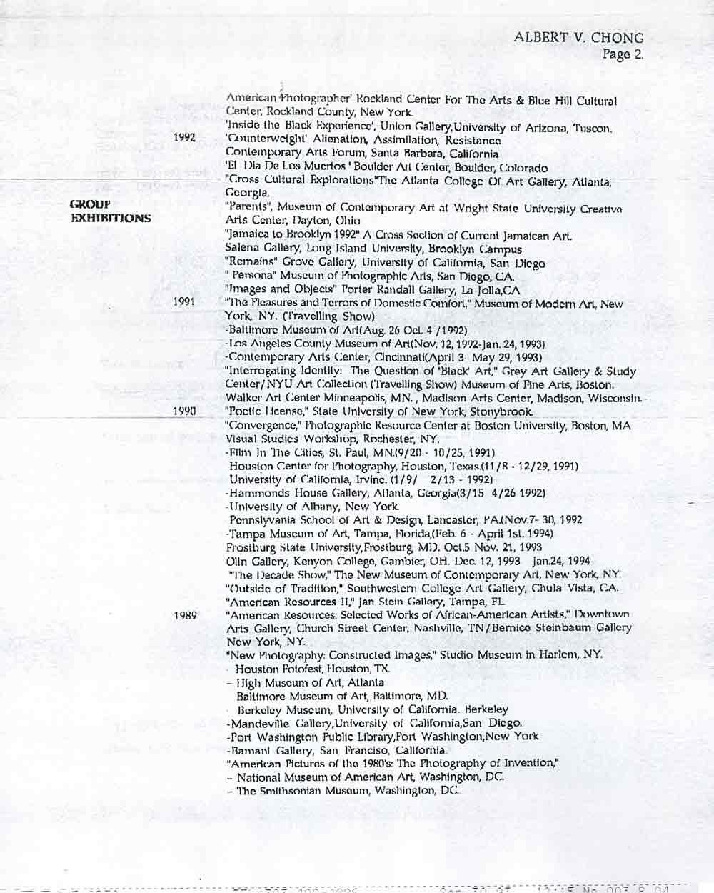 Albert Chong's Resume, pg 2